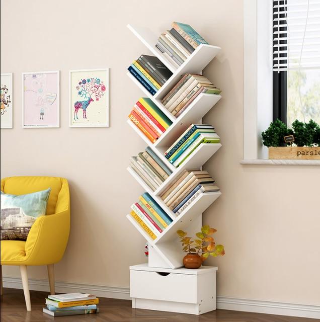 MATE BIRDS Tree Shaped Bookshelf Landing Simple Modern Table Rack Economic Bookcase Small