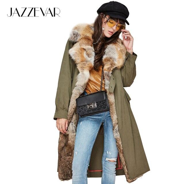 Jazzevar новые 2017 зимние женские Модные натуральным лисьим меховой воротник Военная Униформа парка съемная подкладка повседневное пальто Длинная Верхняя одежда