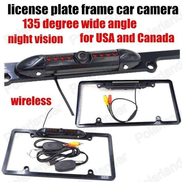 wireless 8LED Car auto License Plate Frame camera reversing rear ...