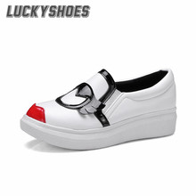 [LuckyShoes]2016 Spring/Autumn New Woman Shoes PU Platforms Fashion Loafers Sexy Punk White/Balck Casual Flats Women's Shoes