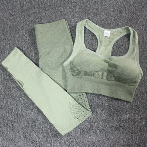 Image 3 - Ombre Set 2 Piece Workout Set Women Seamless Yoga Set Sportswear Fitness Clothes For Women Gym Clothing Gym Leggings Sports Set