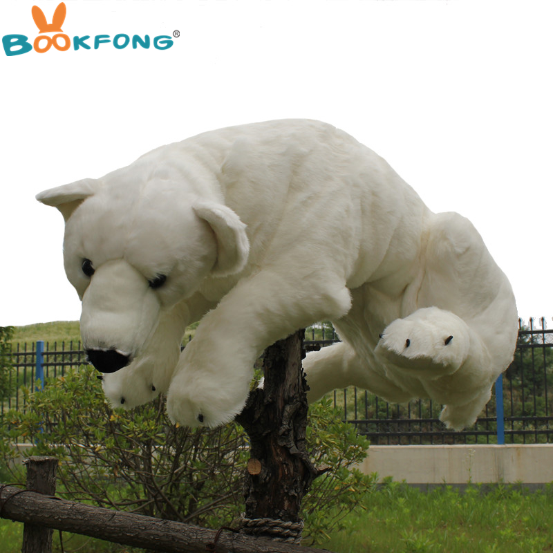 BOOKFONG 105CM Giant Simulation Polar Bear Stuffed Plush Toy Baby Kids Soft Pillow Room Decoration Doll fancytrader biggest in the world pluch bear toys real jumbo 134 340cm huge giant plush stuffed bear 2 sizes ft90451