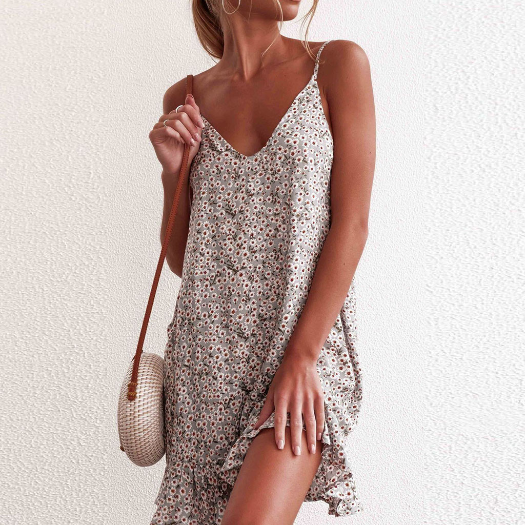 HTB1VbkSKFzqK1RjSZSgq6ApAVXah MUQGEW floral dress women dresses summer 2019 Women's Printing Off-Shoulder short Sleeve Mini Dress Princess Dress#Y3