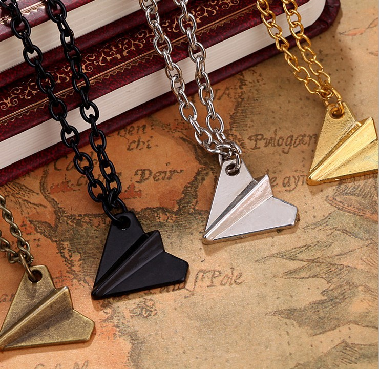 Fantastic New Arrival Hot Sale Hot Fashion One Direction Harry Styles Paper Airplane Necklace Chain Pendant Free Shipping