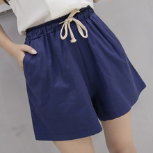 shorts women 2016 summer style hot pants loose linen casual thin mid black White plus size S-3XL short feminino