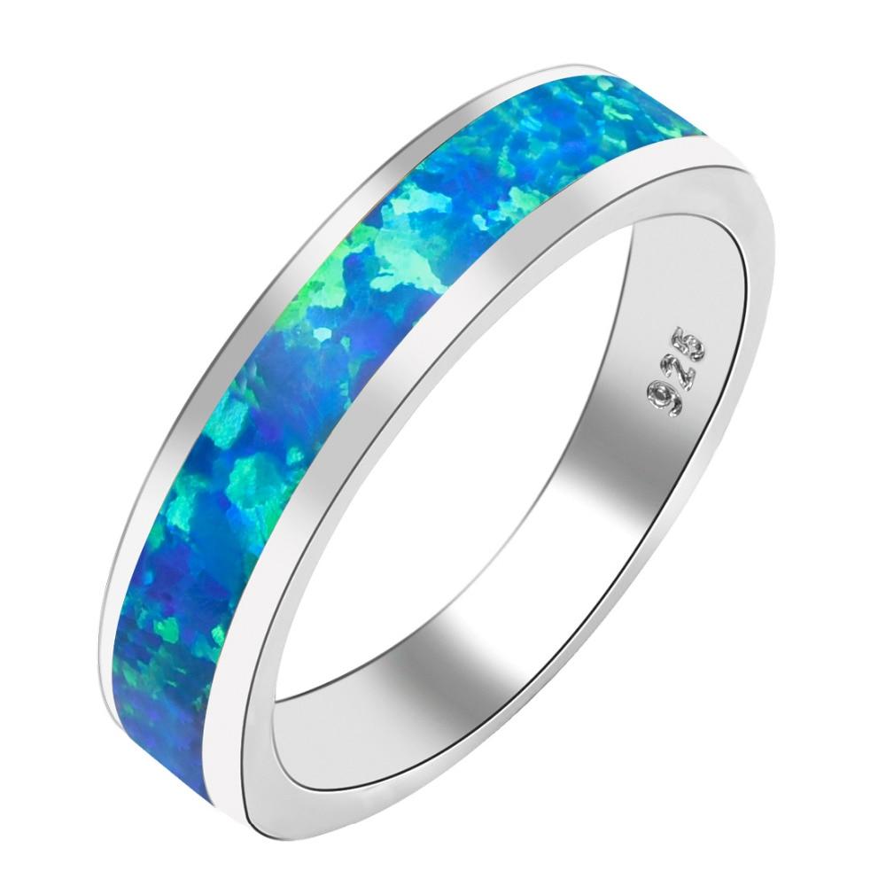 Blue Fire Opal Women 925 Sterling Silver Ring A25 Size 6 7 8 9 10