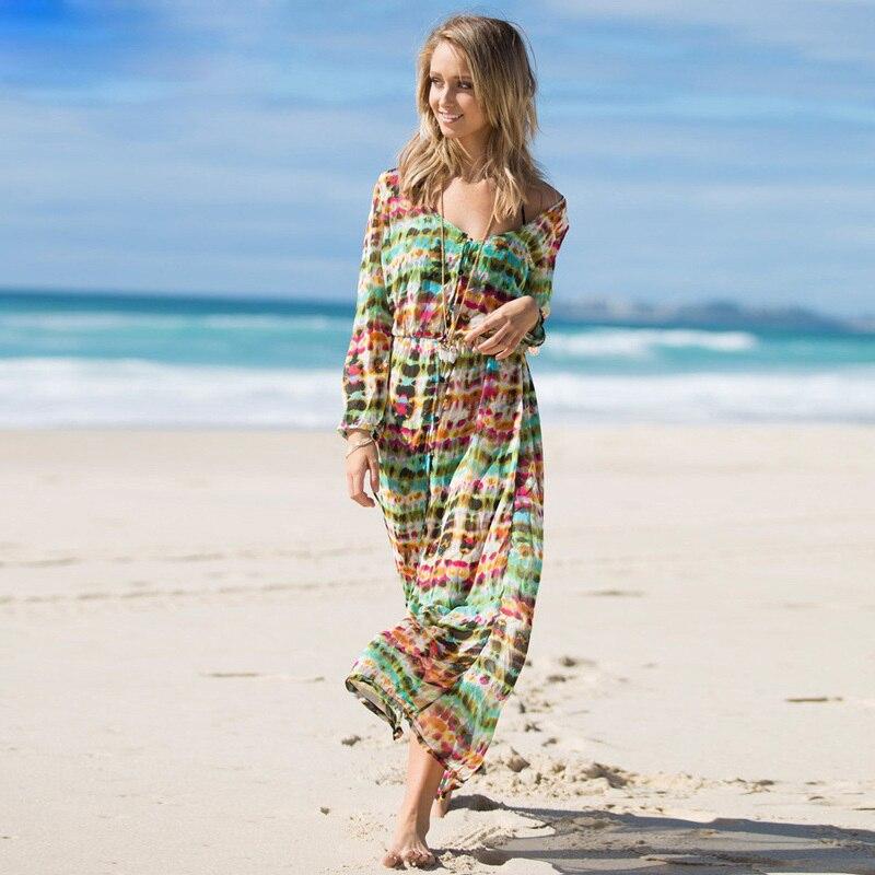 Mel moda praia mulheres tie dye vestido de chiffon de manga comprida vestido maxi com botão vestido longo casual vestidos largos de verano