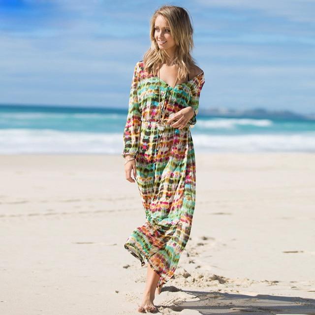honey moda women beach dress tie dye chiffon long sleeve