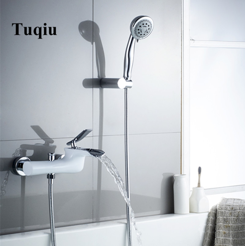 Bathtub Faucets white and chrome Brass Shower Set Bathtub Mixer Tap Single Handle Dual Control Shower Wall Mounted For Bathroom hpb brass chrome finished thermostatic faucet bathroom shower faucets wall mounted bathtub mixer bath set fashion style hp5201