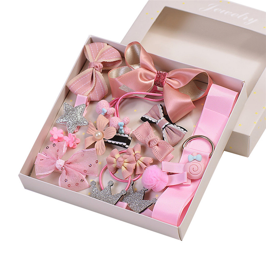 2018 new arrival 17Pcs Kids Infant Hairpin Baby Girl Bowknot Flowers motifs Hair Clip Set hair styling tools