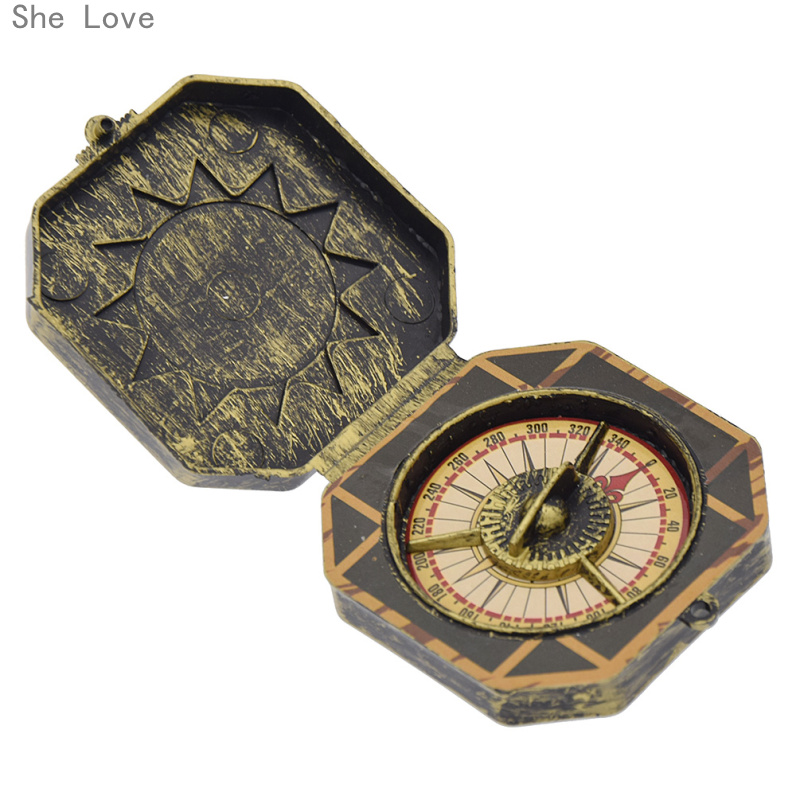 She Love Halloween Cosplay Pirate Compass Prop Fake Compass Captain Costume Toy Halloween Party Cosplay Decoration