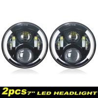 2 PCS LED 7inch Headlight Ultranthin for Hi/Low Beam for Lada 4x4 urban Niva Turn Signal DRL for Jeep Wrangler Off Road