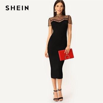 2915bf5e0642d SHEIN Siyah Çizgili Örgü Yoke Kalem Düz Düz Elbise Kadınlar Rahat 2019 Yaz  Modern Bayan Standı Yaka Bodycon Elbiseler