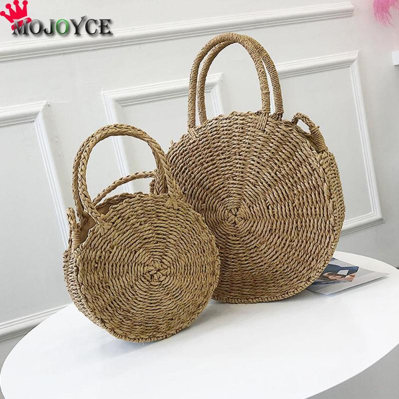2018 New Women Round Straw Handbag Rattan bag Women Handmade Shoulder Bag Summer Beach Bag Messenger Totes Bohemia Bali bolsas
