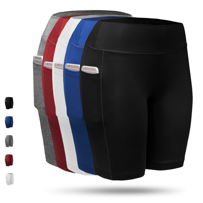 2018 Brand New Women Yoga Shorts Breathable Quick Dry Sport Shorts With Pockets Girls Running Fitness Gym Pants Shorts EUR XXL