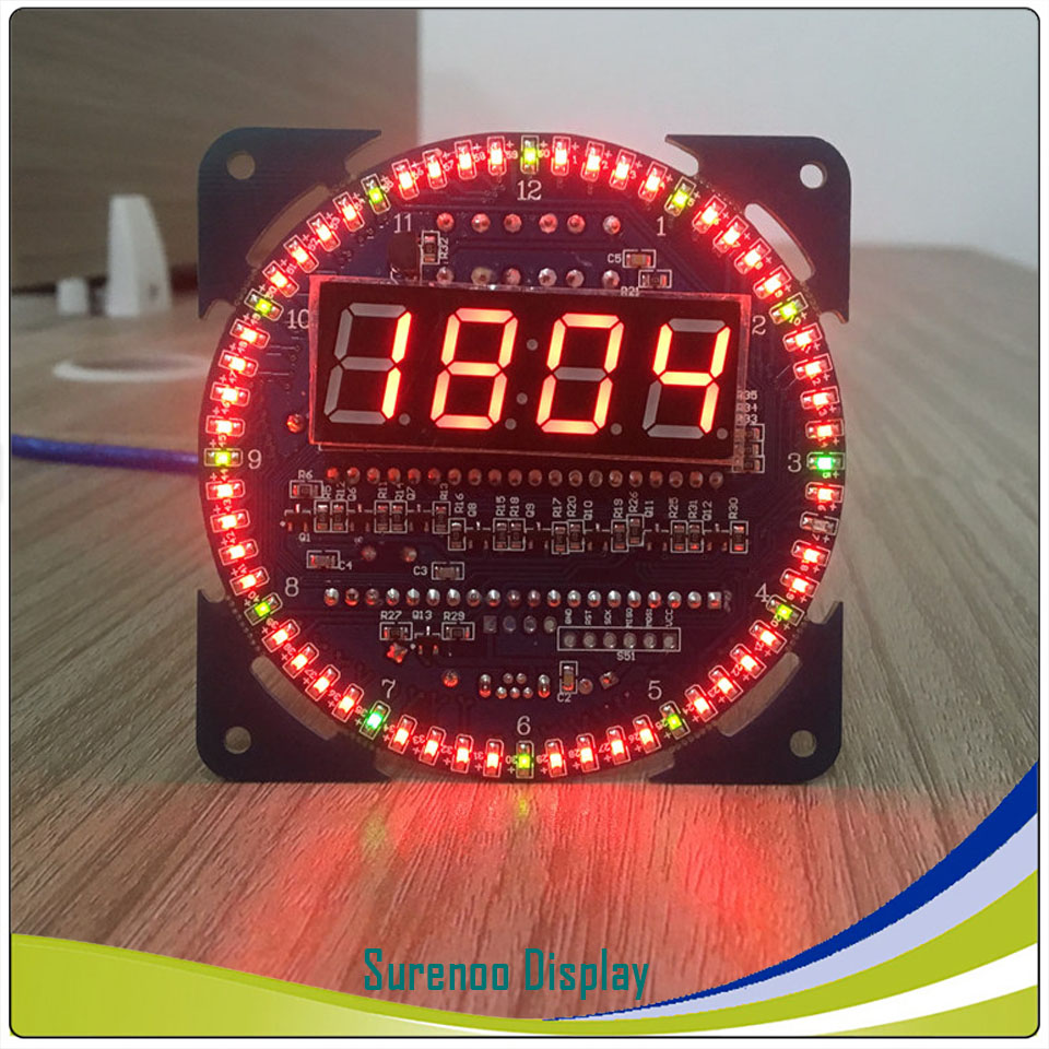Rotating DS1302 Digital LED Display Module Alarm Electronic Digital Clock LED Temperature Display DIY Kit Learning Board 5V