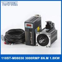AC SERVO MOTOR & DRIVER SYSTEM 1.5KW 5 N.M 3000rpm 220V 110ST M05030 110ST AC SERVO MOTOR Matched Servo Drive
