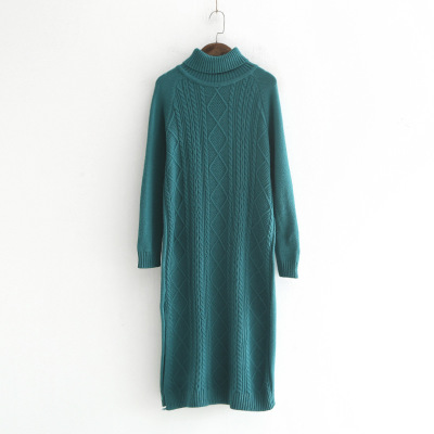 OLGITUM 2018 Winter Long Sweater Dress Women Turtleneck Sweaters Pullover Women Famale Knitted Sweater Pullover Women DR495