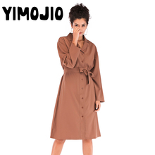 Trench coat Long Trench Spring coat women Slim Trench coat for women Elegant X-long Skirt coat Streetwear Full shirt fitting shirt collar long sleeve trench coat