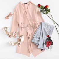 Sheinside Waterfall Collar Pocket Front Wrap Work Wear Trench Peach 3/4 Sleeve Apricot Knee Length With Belts Office Women Coat 5