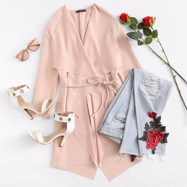 901d13a27a Sheinside Waterfall Collar Pocket Front Wrap Work Wear Trench Peach 3/4 Sleeve  Apricot Knee Length With Belts Office Women Coat