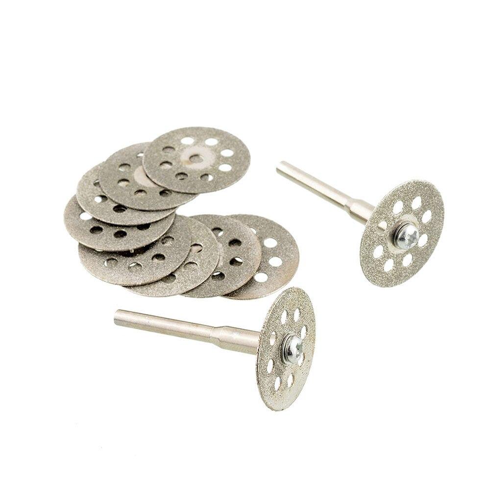 Saw Blades Diamond Mini Cutting Disc For Cutter Rotary Tools Accessories Ultra Thin Emerald Agate Jade 10PCS+2 Rod Cutting Slice
