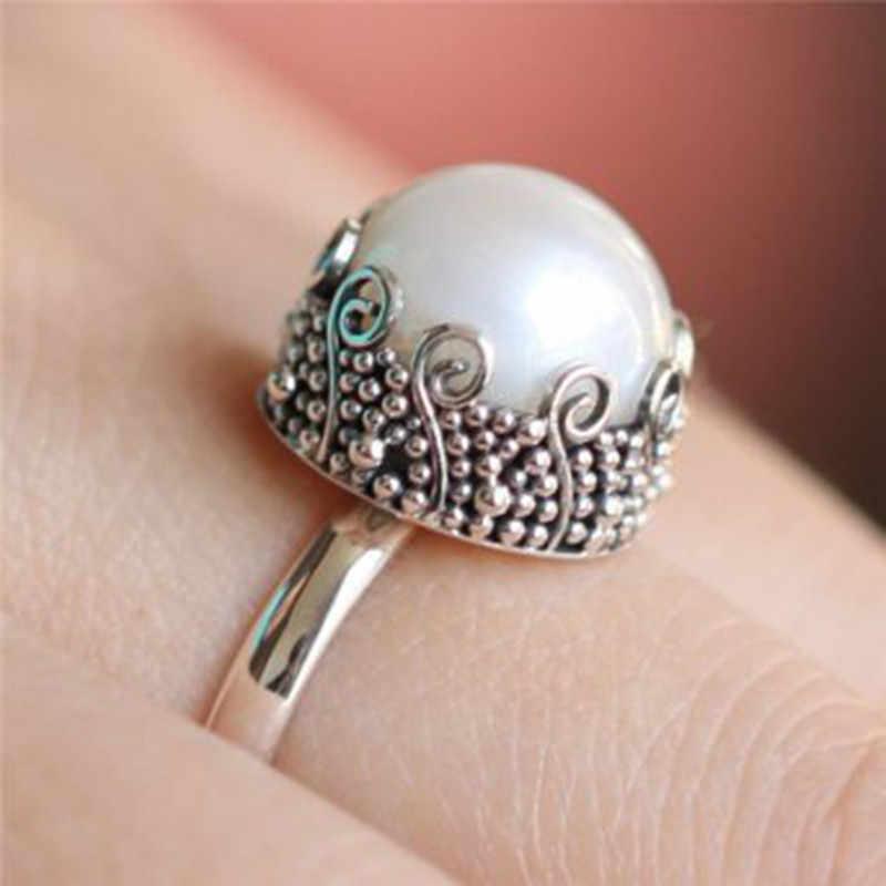 Vintage Pearl แหวนโบฮีเมียแหวนเงินโบราณสำหรับหมั้นผู้หญิงหรูหราแหวนเครื่องประดับ Bague Femme Anel Z3Q933