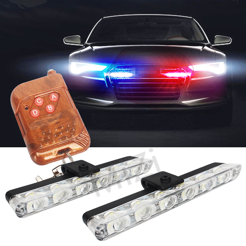 2x6 LED Wireless Remote Strobe Warning Lights 12V Car Work Light  - Car Lights