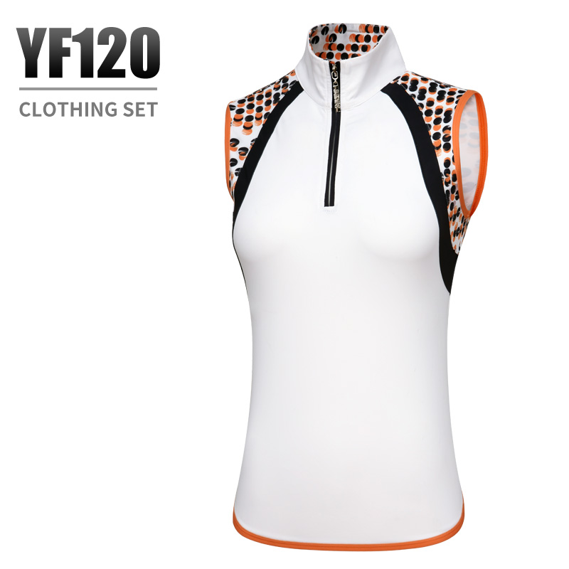 PGM high quality golf Sportswear ladies Zipper collar sleeveless T-shirt summer breathable fast-drying Golf Shirts women apparel ...