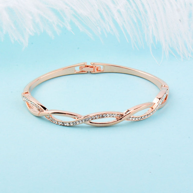 Rose Gold Silver Color Charm Cubic Zirconia