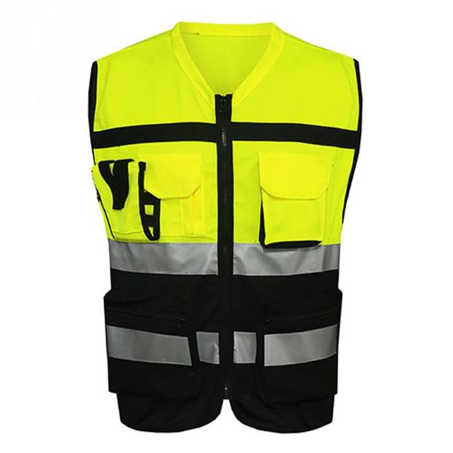 Professional Security Reflective Vest Pockets Design Reflective Vest High Visibility Safety Straps Outdoor Cycling Zip 1