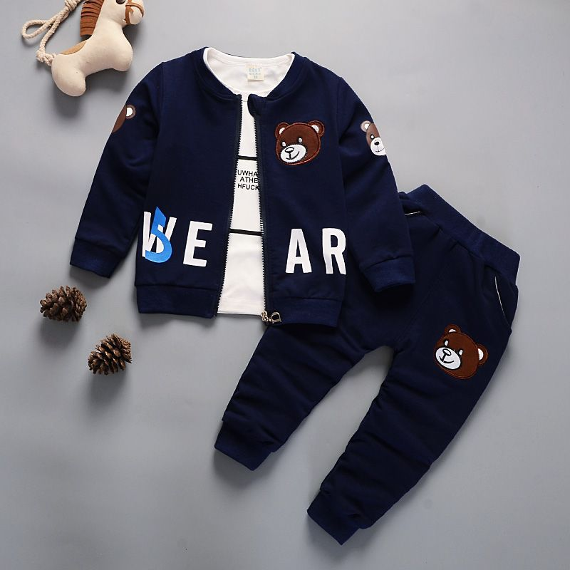 Newborn Kids Clothes Baby Boy Fashion Clothing Set 3PCS Tracksuit Autumn Spring Costume Toddler Children Outfits 1 2 3 4 Years 3