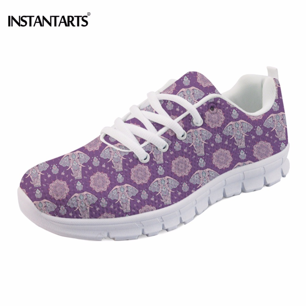 INSTANTARTS Cute Cartoon Design Women Lace Up Flats Zen Elephant Printing Ladies Breathable Sneakers Light Weight Flat Shoes instantarts casual women s flats shoes emoji face puzzle pattern ladies lace up sneakers female lightweight mess fashion flats