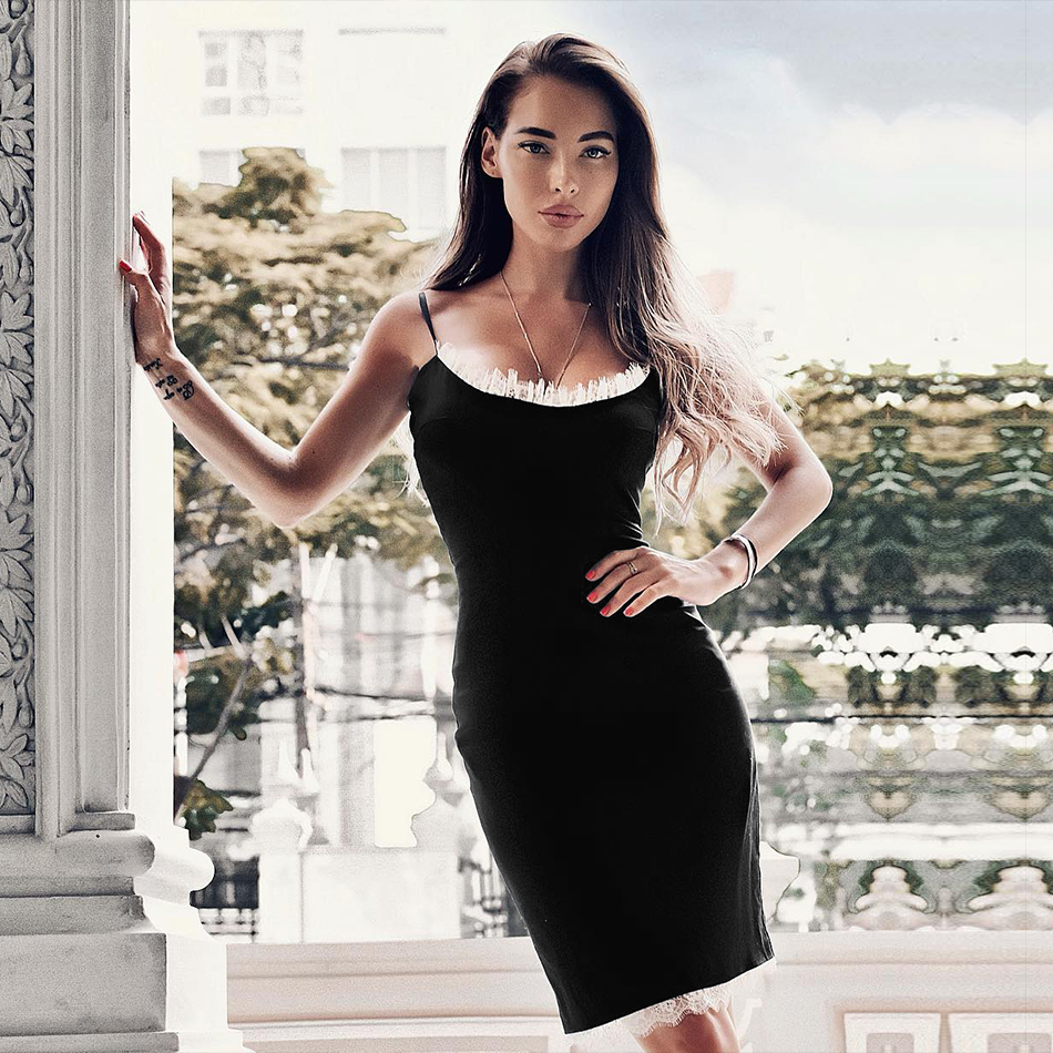 Adyce Women Summer Bandage Dress Vestidos Verano 2019 Sexy Black Lace Spaghetti Strap Club Dress Celebrity