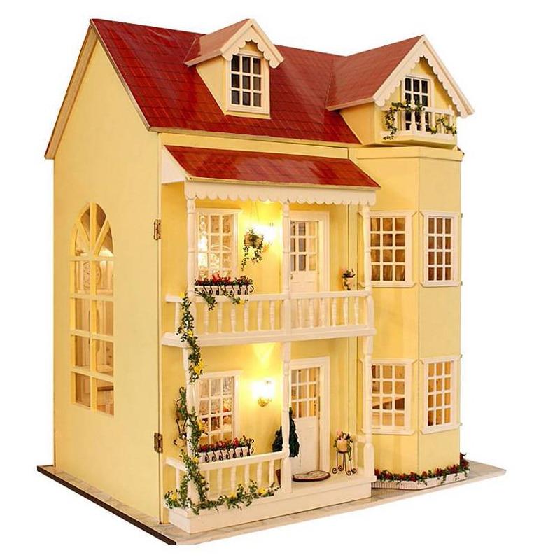 FBIL DIY Handcraft Miniature Project Kit Wooden Dolls House LED Lights Music Villa