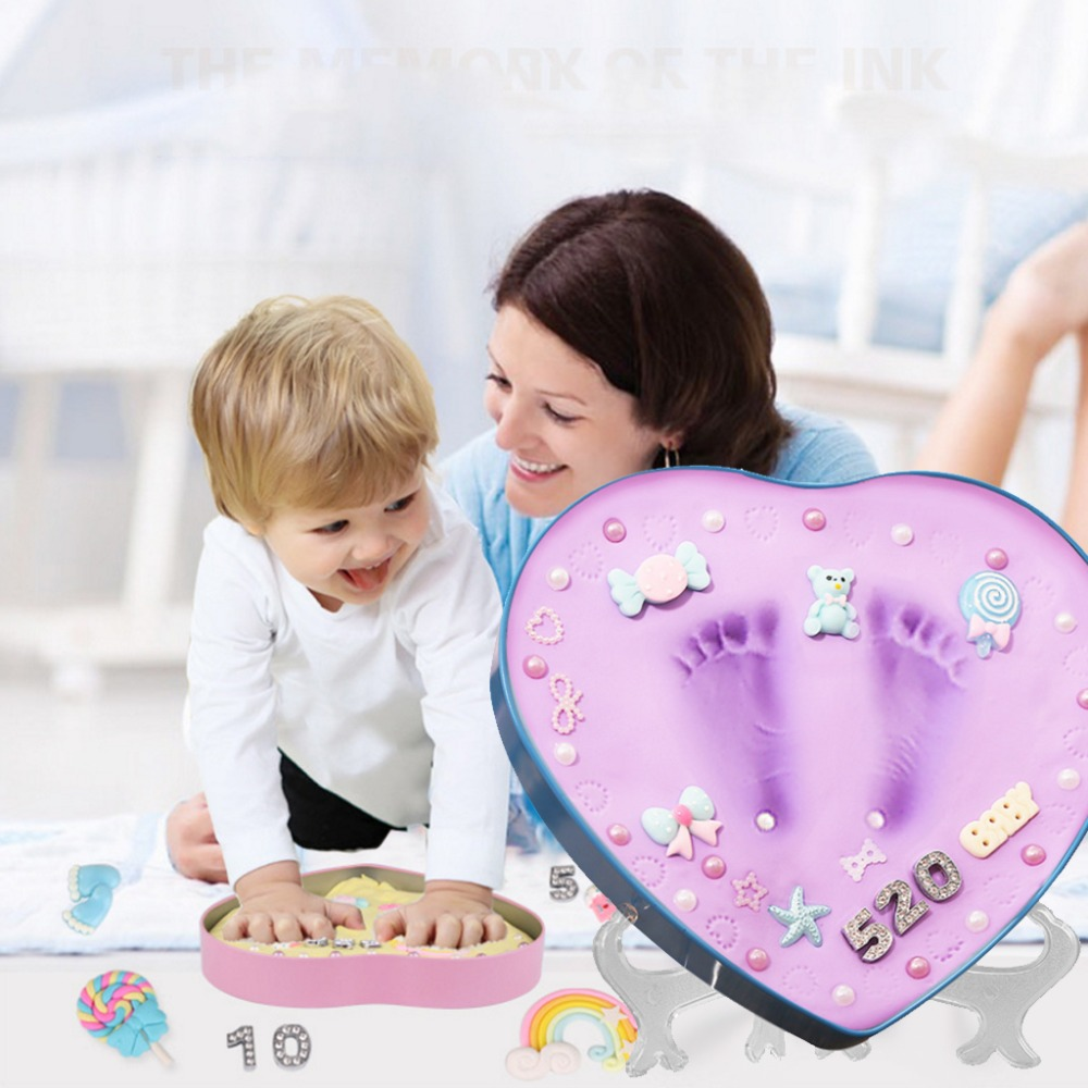 0-1 Year Baby Handprint Footprint Imprint Inkpad Kit Baby Souvenirs Mud Hundred Days Commemorate Clay Box Kids Growing Memor DIY