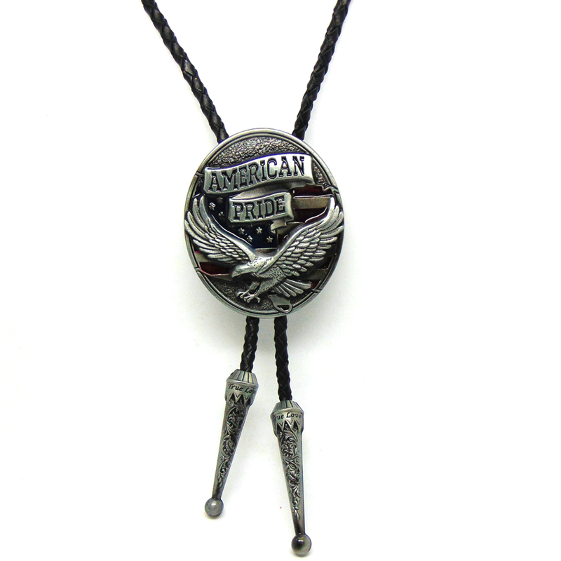 Cowboy bolo tie for men Black leather chain with America pride eagle metal buckle adjustable