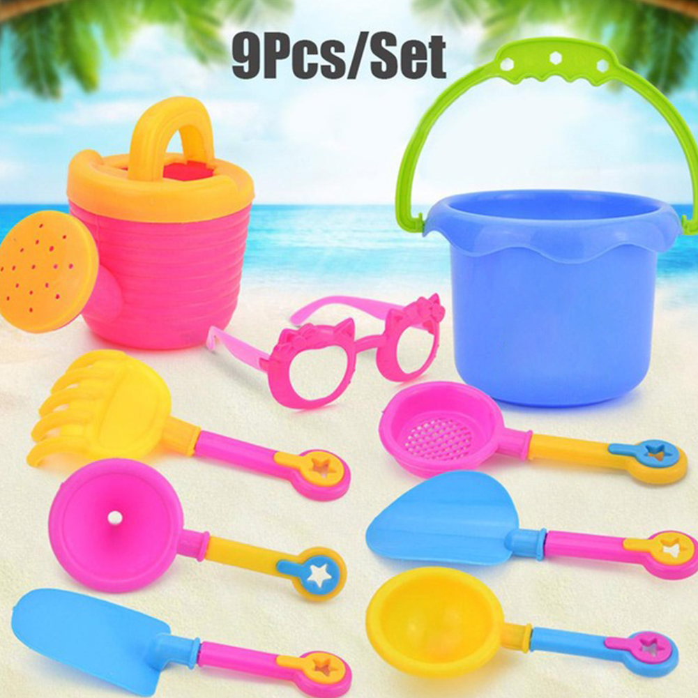 9pcs/Set Water Beach Non-toxic Bucket Colorful Sand Play Toy Set Kettle Baby Kids Plastic Glasses Shovel Funnel Random Color