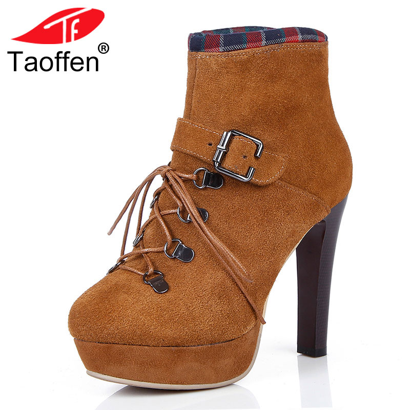 TAOFFEN Size 31-45 Women  Real Leather Thick High Heel Ankle Winter Boots For Women Cross Tied Thick Platform Shoes Warm BotaTAOFFEN Size 31-45 Women  Real Leather Thick High Heel Ankle Winter Boots For Women Cross Tied Thick Platform Shoes Warm Bota
