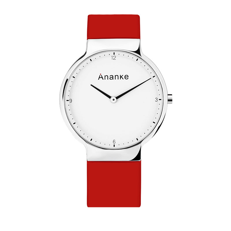 Men Quartz Wristwatches Minimalist White Dial ANANKE Waterproof Causal Leather Lover Thin Watches No Second Hand Montre Homme