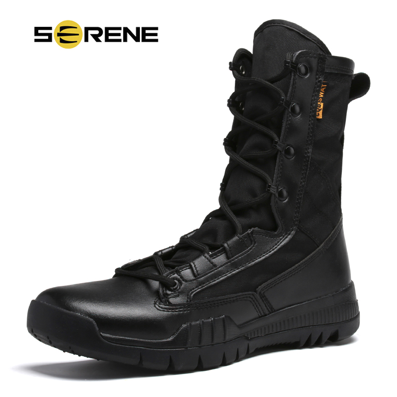 SERENE Brand Men Genuine Leather Army Boots Caliga Breathable High Top Split Desert Military Shoes Safety Ankle Motocycle Boots