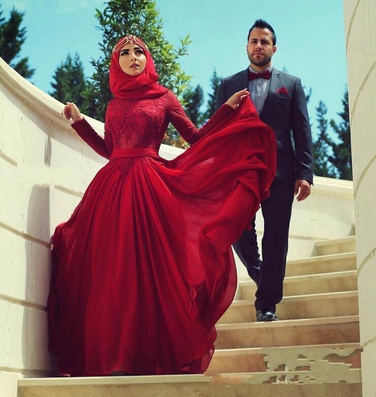 Red Muslim Evening Dresses 2019 A line Long Sleeves Chiffon Lace Formal Islamic Scarf Dubai Saudi
