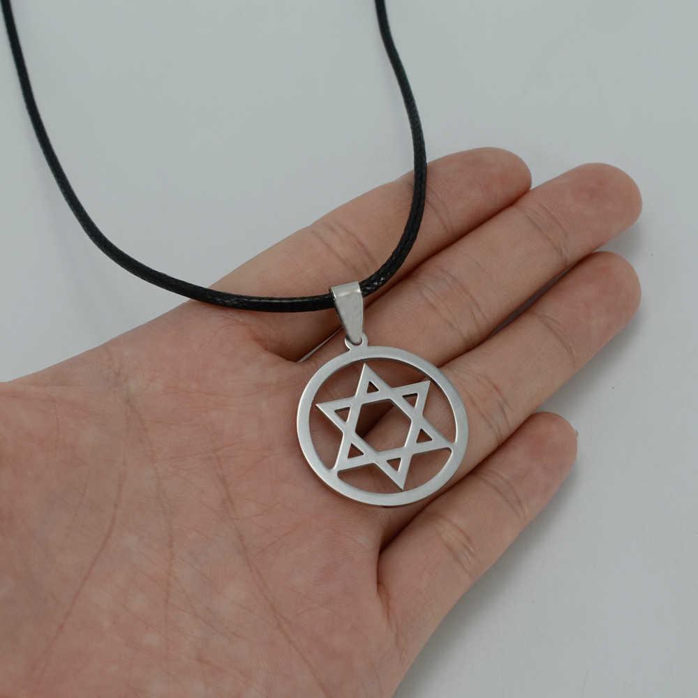 Anniyo izrael łańcuch z wisiorek gwiazda dawida liny kobiety stal nierdzewna mężczyźni łańcuch Magen David gwiazda żydowska biżuteria #000308