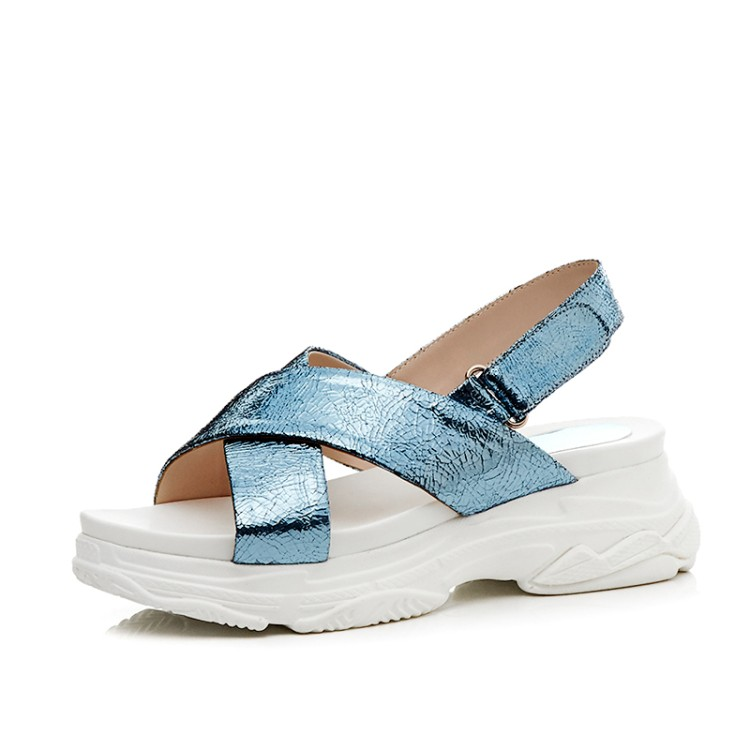MLJUESE 2018 women sandals breathable Bling bling silver color buckle strap open  toe shoes platform beaches. sku  32886651271 4649d0880084