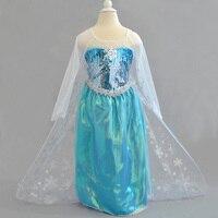 2016 New Elsa Dress Girl Princess Dress Summer Longsleeve Dress Lace Shawl Anna Elsa Costume Baby