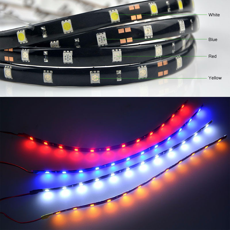 Super bright 12V 30cm LED Daytime Running light DRL Waterproof 5050 SMD Car Auto Decorative Flexible 18 LED Strip Fog lamp