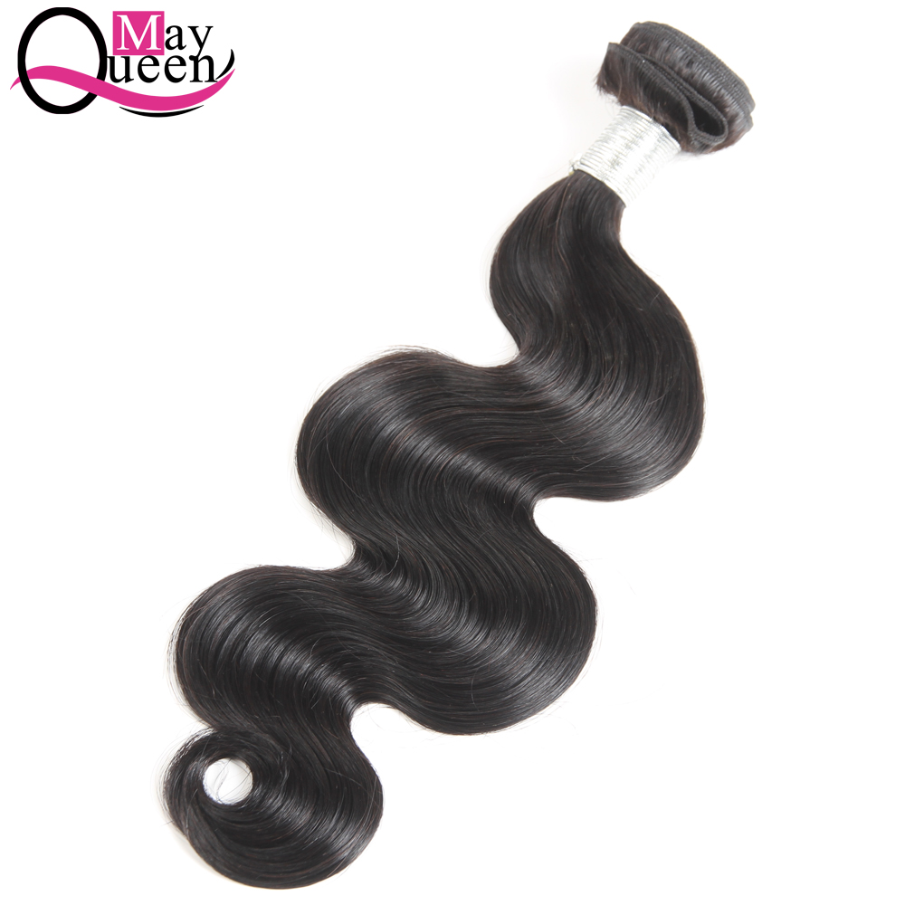May Queen Hair 100% Non-Remy Human Hair Weave Bundles Brazilian Body Wave Hair Extensions Natural Color