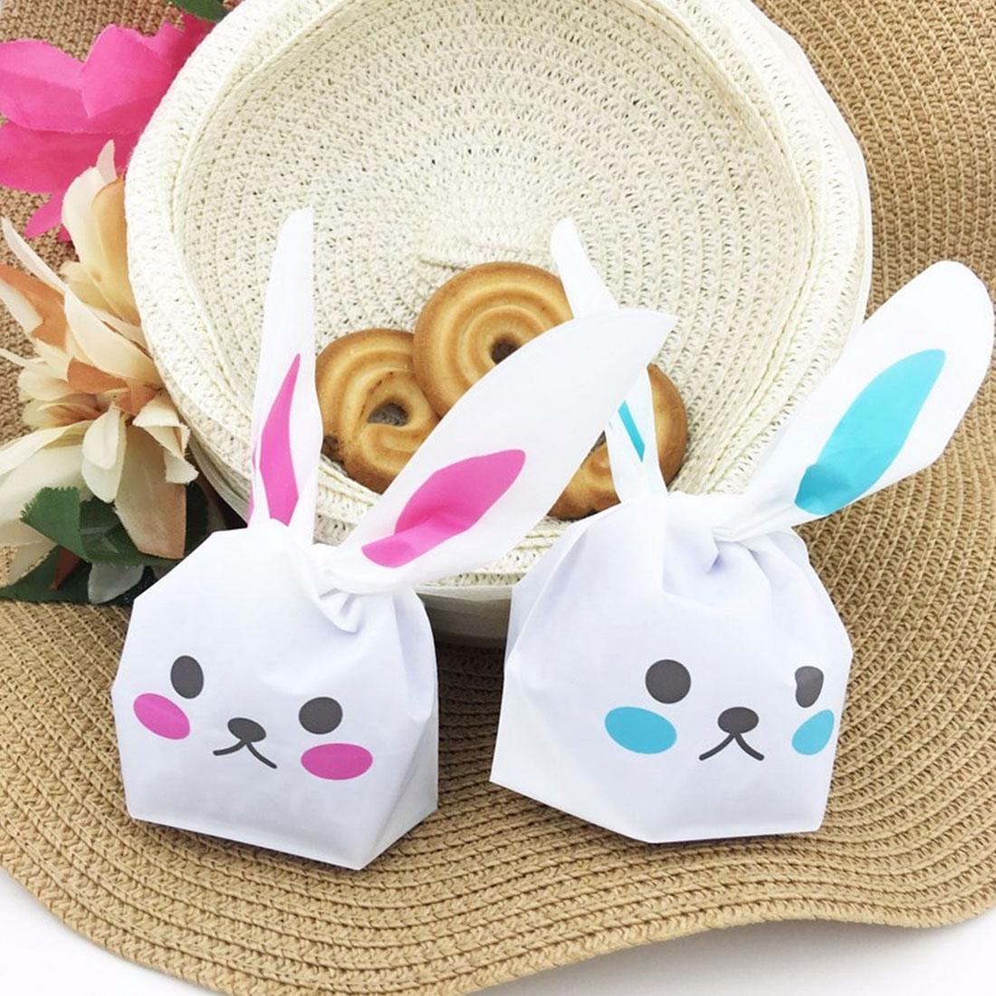 New 50pcs Cute Bunny Cookies Bag Rabbit Ear Plastic Candy Gift Bag Box Holloween Wedding Decor Christmas Party Supplies