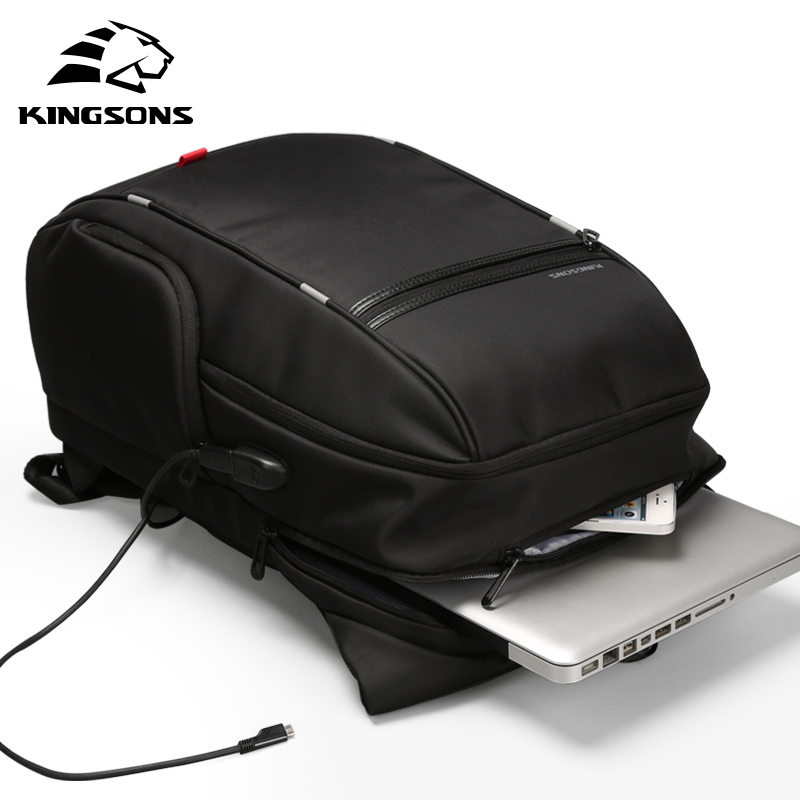 "Kingsons 15""17""  Laptop Backpack External USB Charge Computer Backpacks Anti-theft Waterproof Bags for Men Women 4"