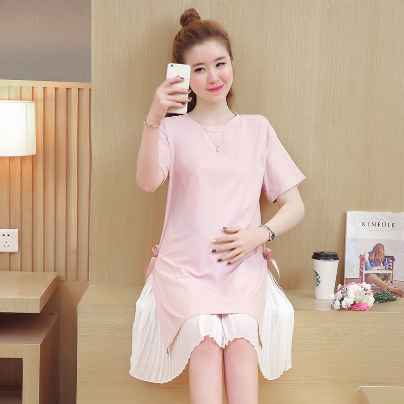 Sping Summer Maternity Kick Pleat Dresses with T-shirt Cotton Dresses Clothing for Pregnant Women Simple Style Maternity Clothes
